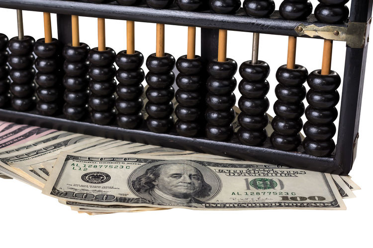 Money talk. Abacus Abacus Beads Business Concepts Cashier Machine Currency Dollar Bill Financial History International Money Counter Money Talk White Background
