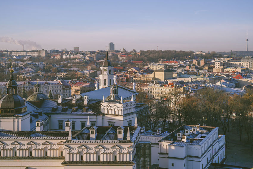 Morning panorama of Vilnius Nikon Z7 Z7 Europe Lithuania Lietuva Morning Panorama City Winter Building Exterior Architecture Built Structure Residential District Building Sky Nature High Angle View Crowded House Day Tree Cityscape Outdoors Roof Community Plant TOWNSCAPE Settlement