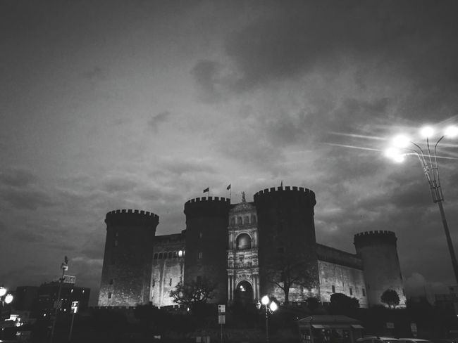 Sky Built Structure Blue Architecture Travel Destinations City Outdoors Building Exterior Monument Night No People Triumphal Arch City Gate Black & White EyeEm Best Shots EyeEmBestPics Storic EyeEm Gallery Naples Maschio Angioino Napoli Beautiful History Cloud - Sky Culture
