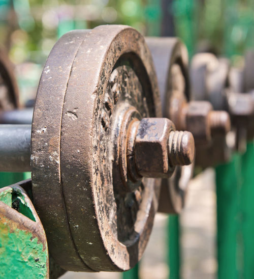 Close-up of old rusty dumbbells