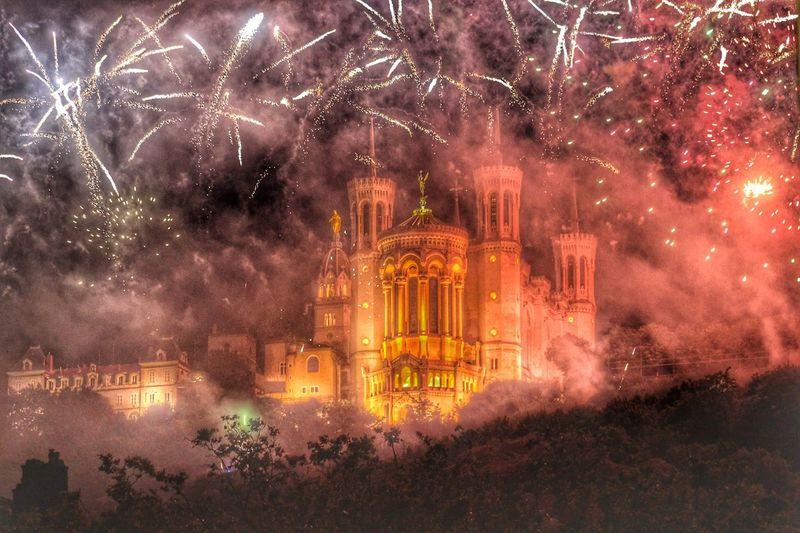 Night Firework Display Exploding Illuminated Architecture Celebration Outdoors Cityscape Sky Galaxy