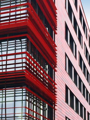 Detail. Architecture Red Building Exterior Built Structure Low Angle View No People Outdoors Nhow Nhow Berlin Berlin Modern Surfaces And Textures Surface Graphic Lines Adapted To The City Close-up Architecture_collection Architectural Column Osthafen Modern Architecture Façade Facades TCHOBANVOSS