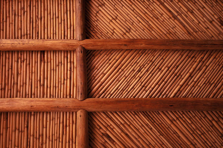 Close-up of bamboo wall