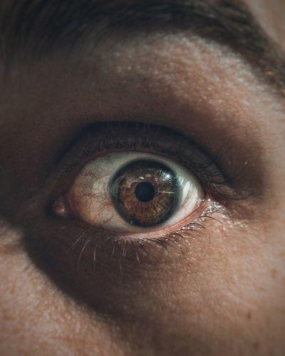 Close-up of a astonished human eye