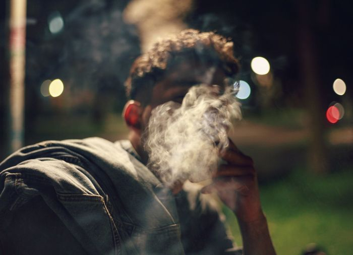 EyeEm Selects Only Men One Man Only Smoke - Physical Structure One Person Adult People Adults Only Arts Culture And Entertainment Night Men Lifestyles Outdoors Young Adult Close-up Smoke Nature Cityphotography Canon