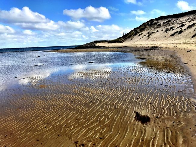 Sky Nature Beach Sand Cloud - Sky Water Scenics Day Beauty In Nature Outdoors Tranquil Scene Tranquility No People Sea Animal Themes Landscape Sand Dune Sylt, Germany Travel Destinations IPhoneography Beauty In Nature Horizon Over Water Reflection Vacations Dunes