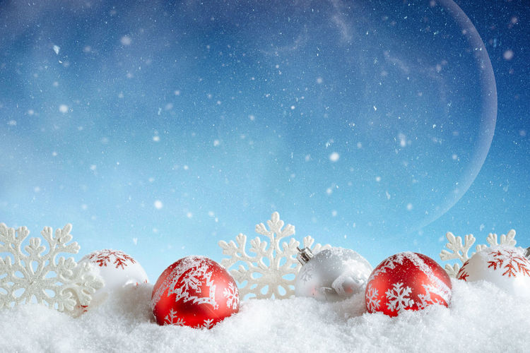 Christmas Card. Red and white bubbles and snowflakes in winter setting. Advent Celebration Christmas Copy Space Family Holidays Kids MerryChristmas New Year Santa Claus Tree Winter Wintertime Xmas Backgrounds Card Christmas Decoration Decoration Festive Gifts ❤ Season  Sky Snow Table Traditional