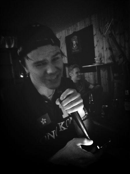 Kalle is rocking the mic Singstar Taking Photos Black & White After