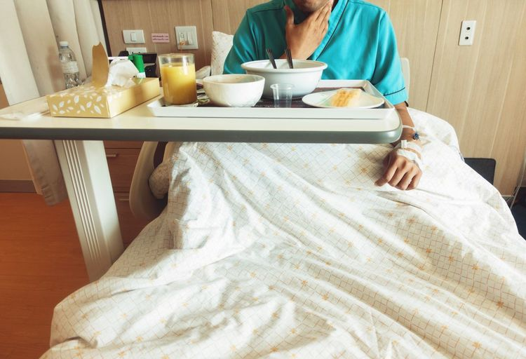 Hospital Room Breakfast Sick Food Patient One Person Food And Drink Sitting Bed