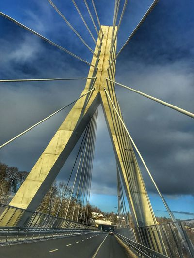 Connection Bridge - Man Made Structure Engineering Transportation Suspension Bridge Sky Architecture Built Structure Cable Cloud - Sky Cable-stayed Bridge Outdoors Low Angle View No People Day LINE