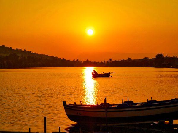 Laghi di Ganzirri Beauty In Nature Boat Fisherman Nature Orange Color Outdoors Sunset Water