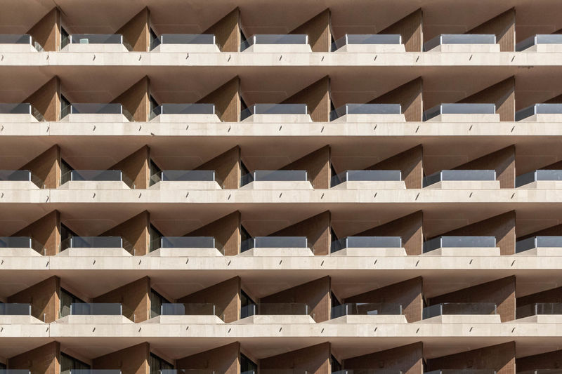Full frame shot of residential building with balconies