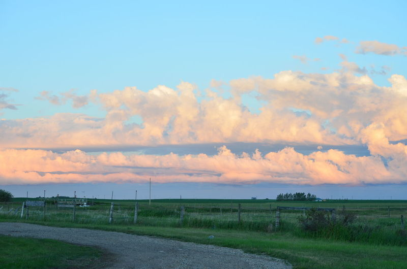 Alberta Cloud Field Flat Land Road Rural Scene Sky Storms