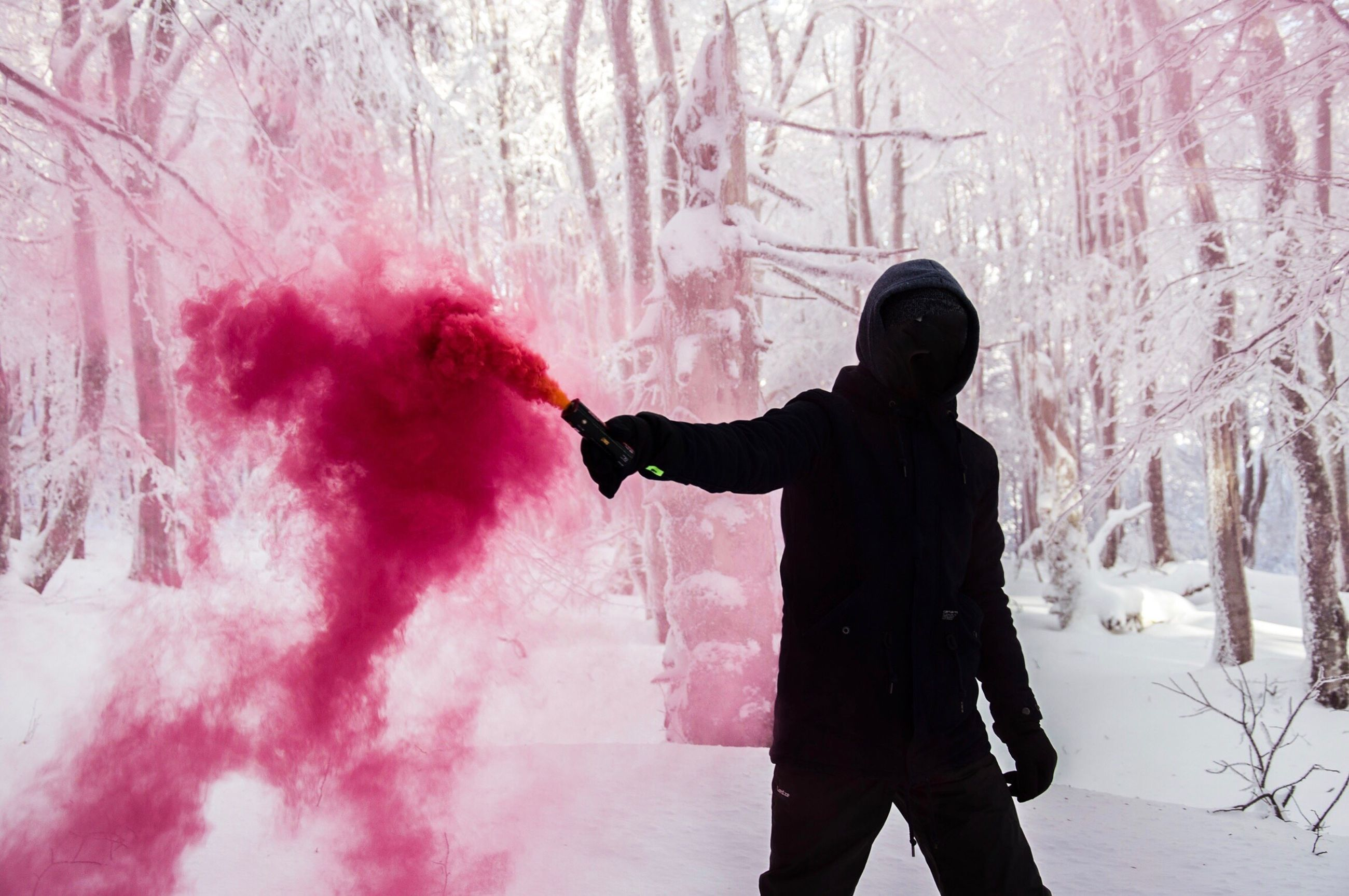 one person, three quarter length, cold temperature, warm clothing, spraying, people, snow, outdoors, winter, one man only, adults only, men, only men, day, adult, snowing, human hand