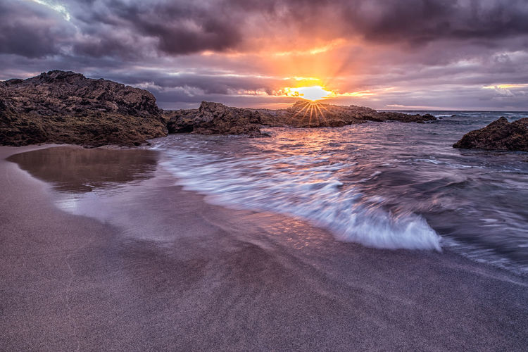 Filter Nikon Beach Beauty In Nature Cloud - Sky Day Horizon Over Water Long Exposure Nature No People Ocean Outdoors Rock - Object Rocks Scenics Sea Sky Sun Sunset Tranquil Scene Tranquility Water Wave