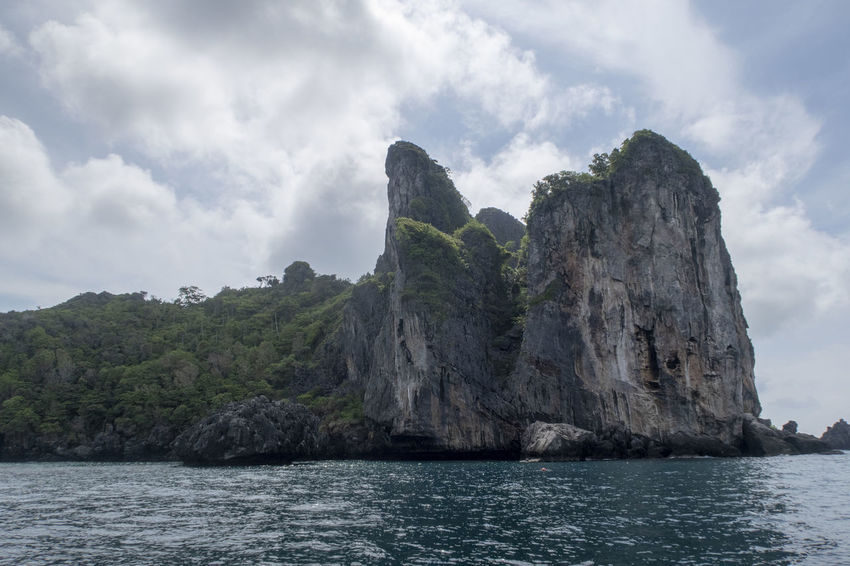 Water Sky Cloud - Sky Scenics - Nature Beauty In Nature Rock Sea Rock Formation Tranquil Scene Nature Rock - Object Tranquility Mountain Solid Day Non-urban Scene Cliff No People Idyllic Outdoors Formation Stack Rock Thailand