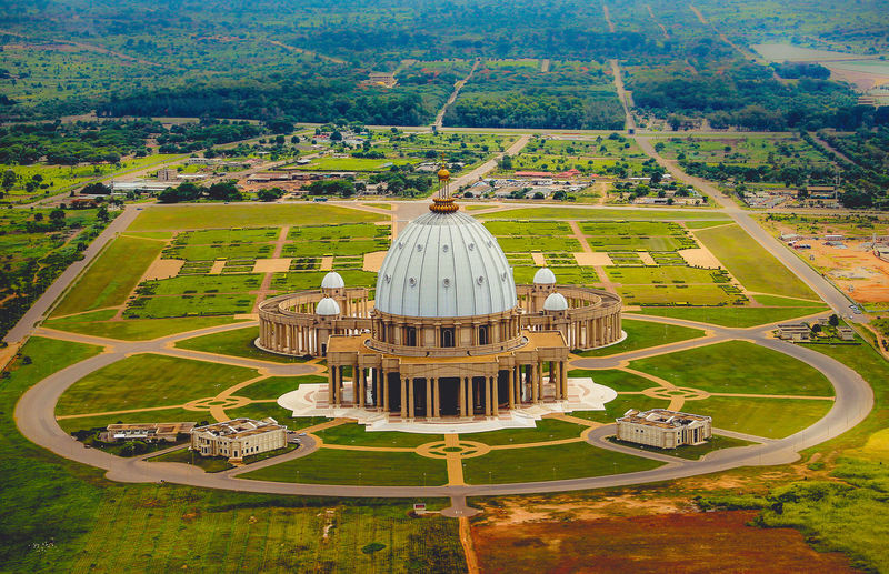 Basilica of our lady of peace amidst landscape