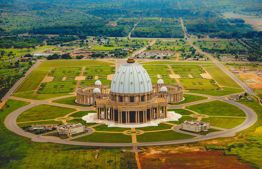 The Basilica Aerial Aerial Photography Aerial View Africa Architecture Basillica Blackbird'seye Côte D'ivoire Thearchitect-2016-eyeemawards Found On The Roll Flying High