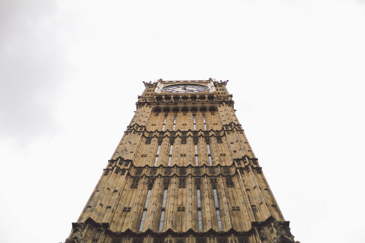 Low Angle View Of Big Ben Against Clear Sky In City