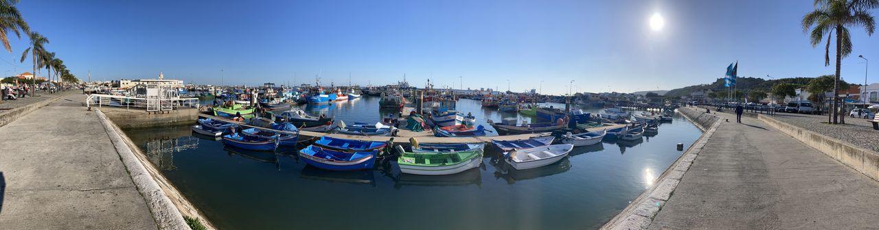 Panoramic view of harbor against sky in city