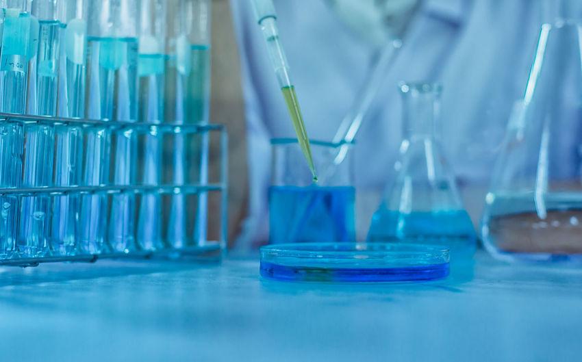 Test tube rack in laboratory