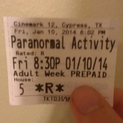 It's a bit late but got to see Paranormal Activity: The Marked Ones with my bro. Really good and scary, I would recommend it to anyone who hasn't seen it yet. Paranormalactivity Themarkedones Ticket Goodmovie hadfun