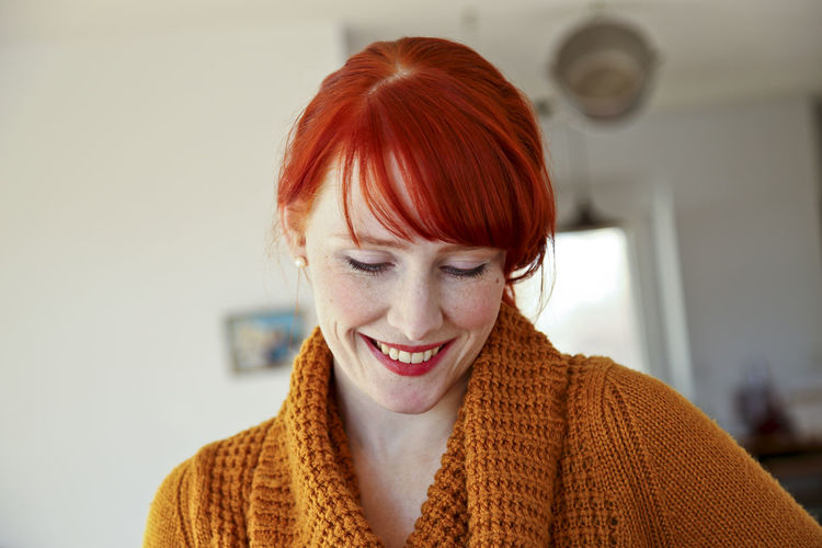Close-up of redheaded woman