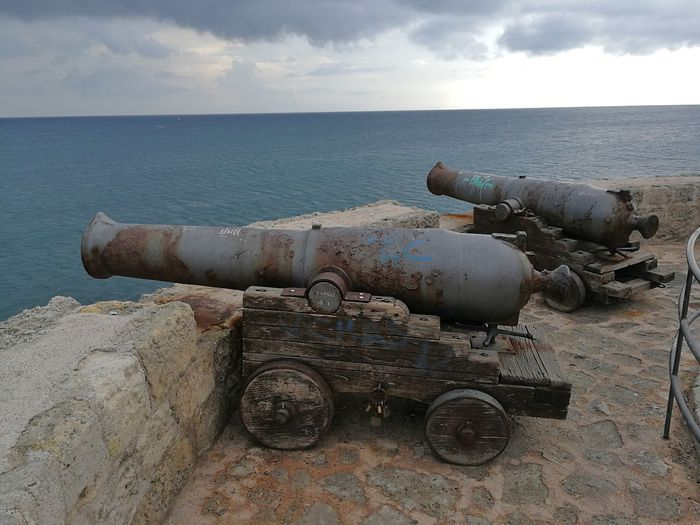 Sea Weapon Cannon Water Metal Sky Horizon Horizon Over Water The Past History Conflict War Fighting Old Rusty Military Day Nature No People Outdoors Cannoni Bastione Santa Maria Carlo V Castello