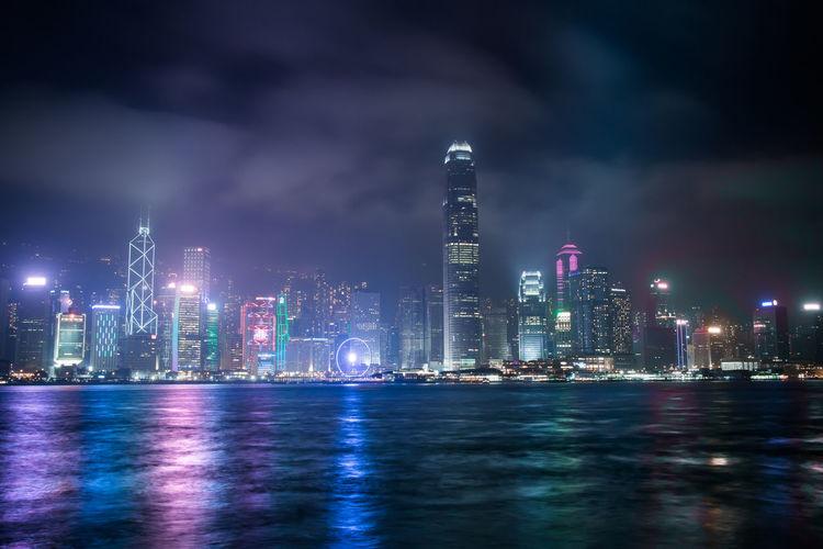 Hong Kong Sky Line Victoria Harbor City Illuminated Night No People Outdoors Water First Eyeem Photo