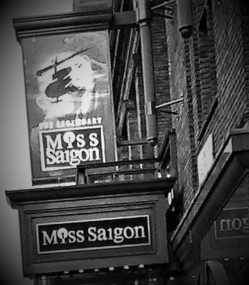 Here is a shot of Miss Saigon which is a Stage Musical in the Westend of London, (Black and White) Architecture Black And White Black And White Collection  Black And White Photography Bricks Bricks In The Wall Building Exterior Built Structure City Day Logos London Lifestyle London Theatre London_only LONDON❤ Low Angle View Miss Saigon, Musical Musical Theatre No People Outdoors Signs Signs_collection Text Theatre & Music  Theatre Arts