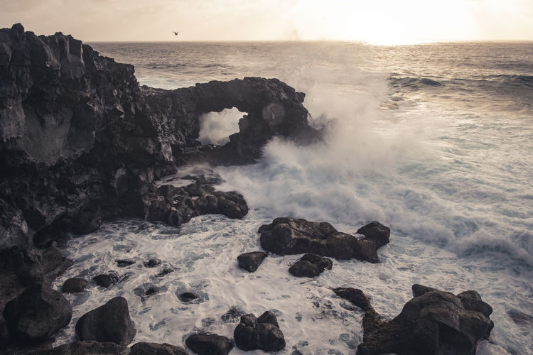 Cliffs Lanzarote Oceanside Sunlight The Great Outdoors - 2018 EyeEm Awards Beauty In Nature Bird Breaking Horizon Over Water Motion Nature No People Outdoors Power Power In Nature Rock Rock - Object Rock Formation Rocky Coastline Scenics - Nature Sea Solid Sunset Water Wave
