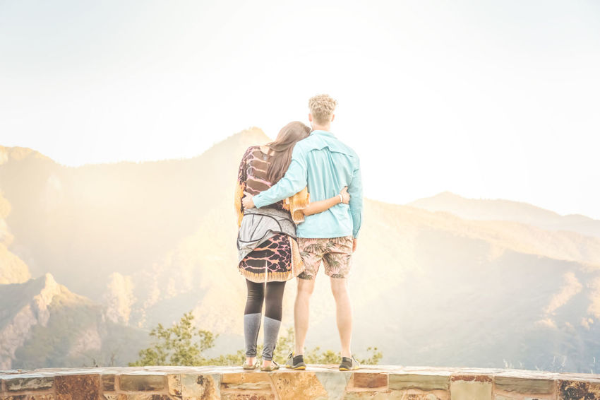 Love is ..... Love Sequoia National Park The Great Outdoors - 2018 EyeEm Awards The Traveler - 2018 EyeEm Awards Adult Arm Around Bonding Casual Clothing Copy Space Couple - Relationship Day Emotion Full Length Heterosexual Couple Leisure Activity Lifestyles Looking At View Males  Men Mountain Nature Outdoors Positive Emotion Rear View Scenics Standing Sunlight Togetherness Two People