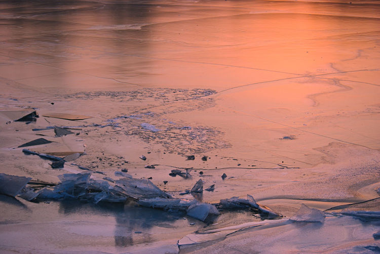 Frozen River Abstract Nature Ice Wintertime Cracked Ice Frozen Nature Golden Hour Sunset Colors Winter Nature Winter Sunset Winter Wonderland