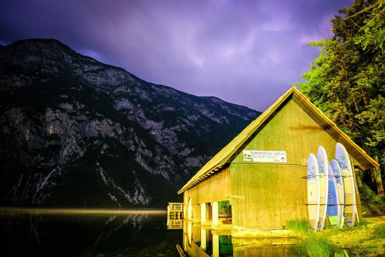 Camp Zlatorog Bohinj Nightphotography Night Built Structure Mountain Architecture Building Exterior Plant Tree Building Sky Nature Cloud - Sky Lake Outdoors