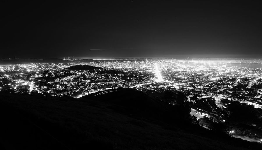 San Fransisco California City At Night Mountain View San Francisco San Francisco, California United States Aerial View Beauty In Nature Black And White Black And White Collection  Black And White Photography Blackandwhite City Cityscape Illuminated Nature Night No People Outdoors Power In Nature Scenics Sea Sky
