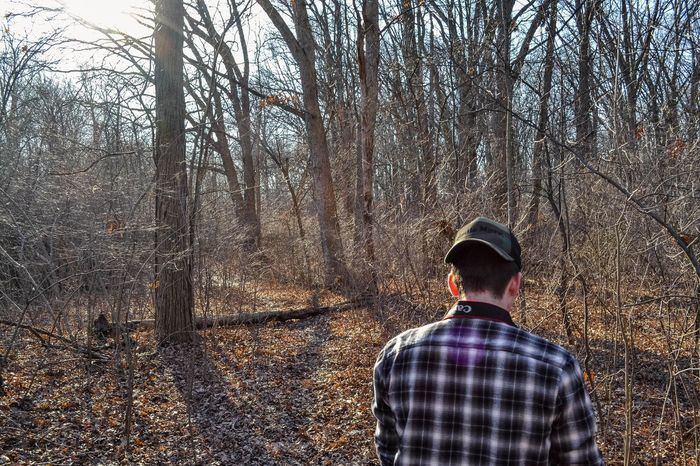 Rear View Tree Forest One Person Lifestyles Leisure Activity Men Real People Nature Standing Bare Tree Flat Cap Tranquility Warm Clothing Outdoors Scenics Beauty In Nature Day One Man Only