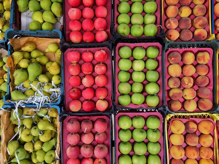 Healthy Eating Food And Drink Choice Wellbeing For Sale Retail  Variation Freshness Large Group Of Objects Market Arrangement Market Stall Abundance Multi Colored Box Fruit Container Order Sale Retail Display Apple Box - Container Consumerism Iran Firuzkuh