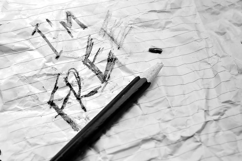 Crumpled paper with the expression I'm Free on it and a pencil with it´s tip broken Blackandwhite Crumpled Paper Free Will Freedom No People Paper Pencil Strong Words Studio Words Resist