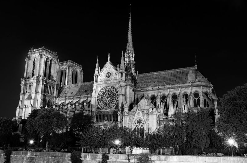 Low angle view of cathedral against sky at night