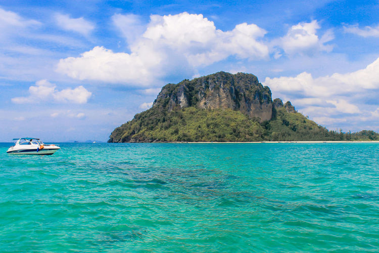 Sea Krabi Krabi Thailand Beauty In Nature Blue Cloud - Sky Day Idyllic Land Mountain Nature Nautical Vessel No People Outdoors Rock Scenics - Nature Sea Sky Tranquil Scene Tranquility Transportation Turquoise Colored Water Waterfront Yacht