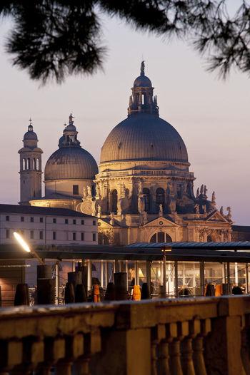 Santa maria della salute against sky in city at dusk