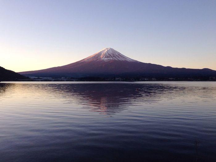 Scenic View Of Lake Kawaguchi And Mt Fuji Against Sky