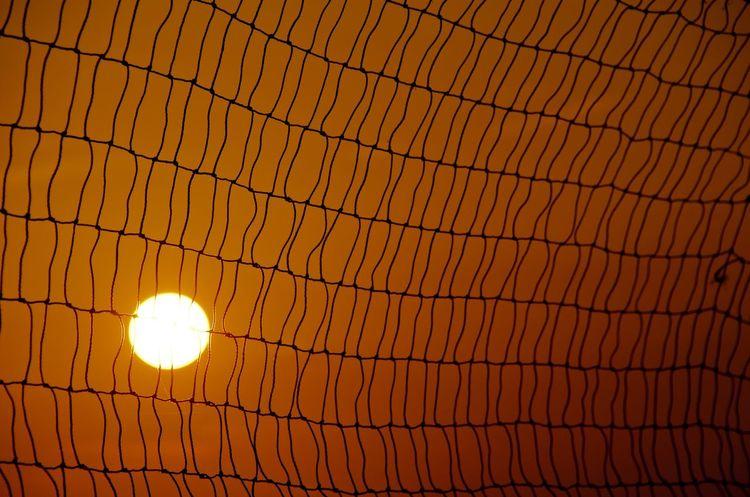 Abstract Beach Geometry Grid Ideas Net Orange Pattern Sun Sunset Volleyball