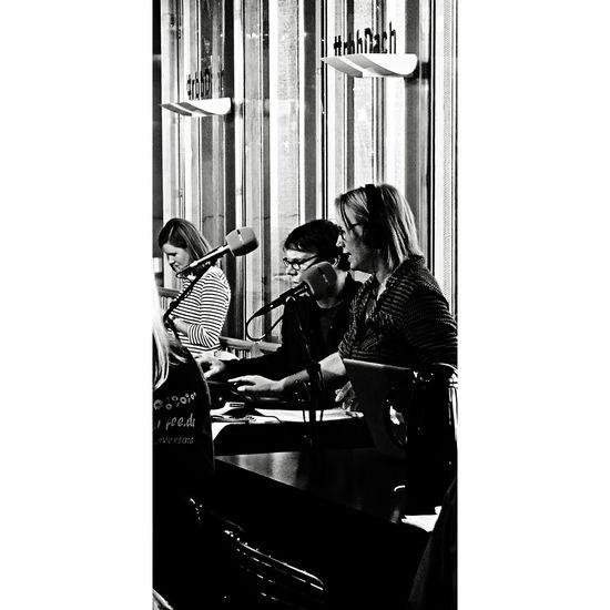 Berlin EyeEm EyeEm Best Shots EyeEm Gallery The Week On EyeEm Black And White Blackandwhite Blackandwhite Photography Bnw Bnw_captures Bnw_collection Discover Berlin Indoors  Music People People Photography Radio Show Radio Station Radio1 Real People Standing Technology Two People