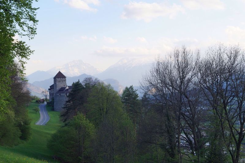 Vaduz No People Sky Beauty In Nature Road, Tree, Castle Explore Nature Spring