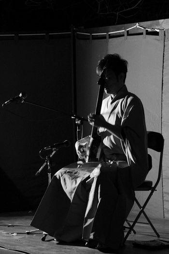 Taking Photos Nightphotography Musician Shamisen Light And Shadow Black And White Eyeem Monochrome
