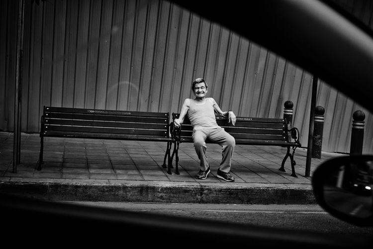 Looking At Camera Streng Strenger Man Street Alone Bangkok Thailand.