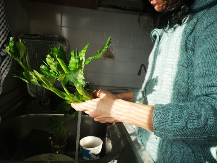 Midsection of woman holding vegetable by sink