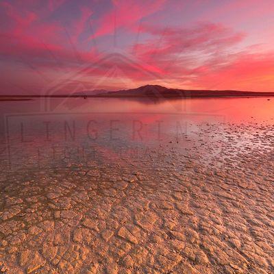 Sunset at Great Salt Lake, looking to Antelope Island Utah Sunset