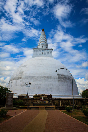 Architecture Blue Sky And Clouds Buddha Statue Building Exterior Built Structure Cloud - Sky Day No People Outdoors Pattern Religion Ruwanwelisaya Sky Sri Lanka Stupa Temples